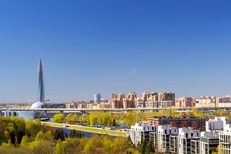 Lakhta för skyskrapa 462-meter mitt, StPetersburg arkivfoton