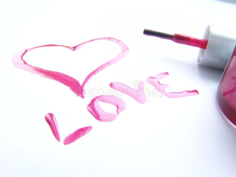lakier do paznokci pisemne miłości obraz stock