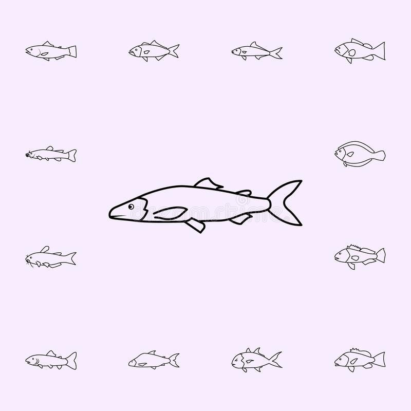 Lakre herring icon. Fish icons universal set for web and mobile. On color background stock illustration