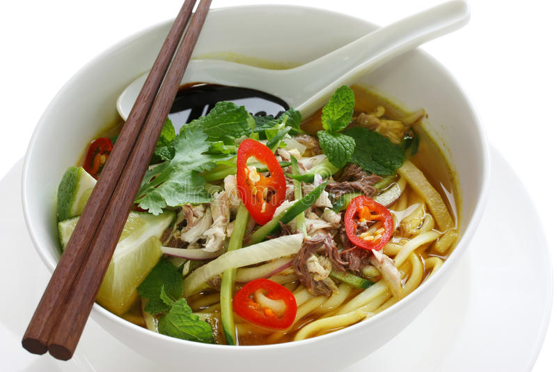 Laksa de Penang assam, alimento malaio fotografia de stock