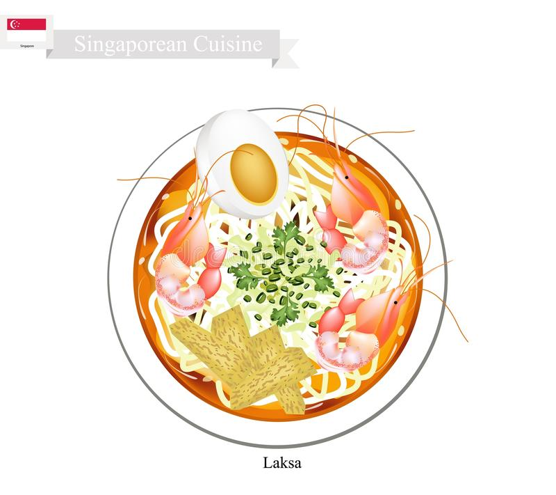 Laksa or Singaporean Spicy Rice Noodle Soup royalty free illustration