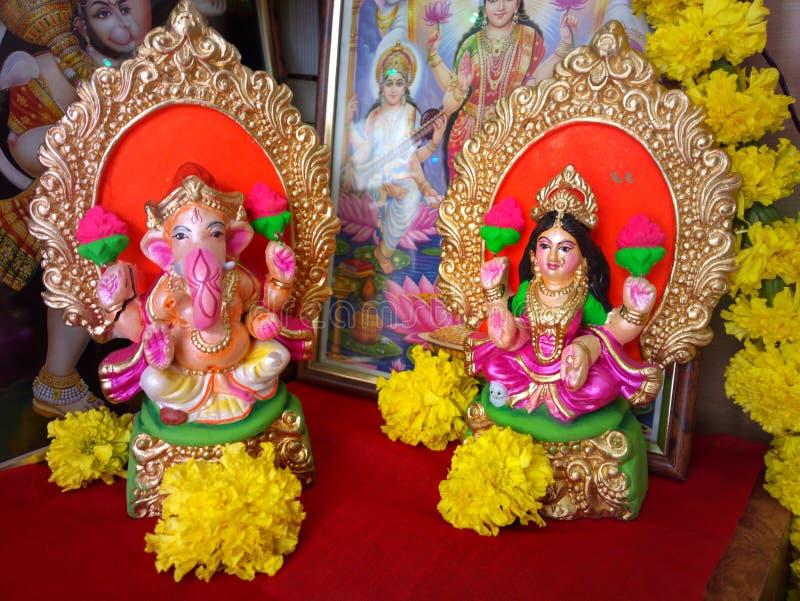 Lakshmi, laxmi, ganesh, ganesha, diwali崇拜 图库摄影