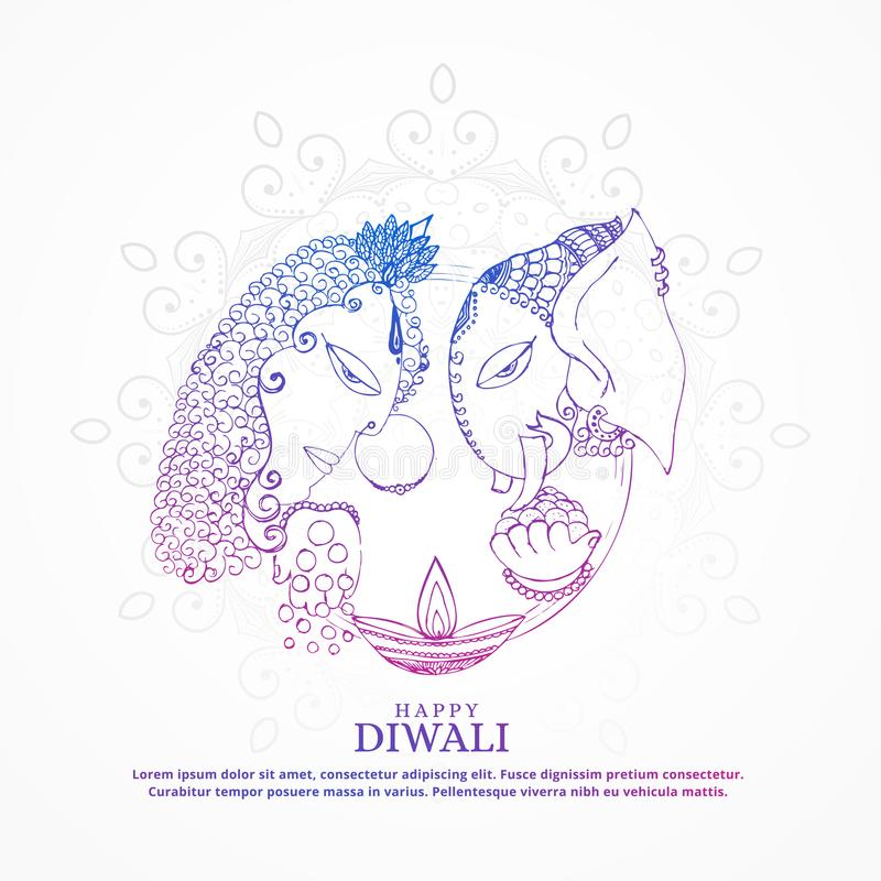 lakshmi богини и backgroun diwali ganesha лорда творческое счастливое иллюстрация вектора