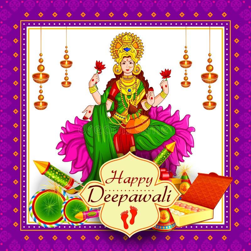Lakshmi de la diosa que se sienta en el loto para la celebración feliz del día de fiesta del festival de Diwali del fondo del sal stock de ilustración