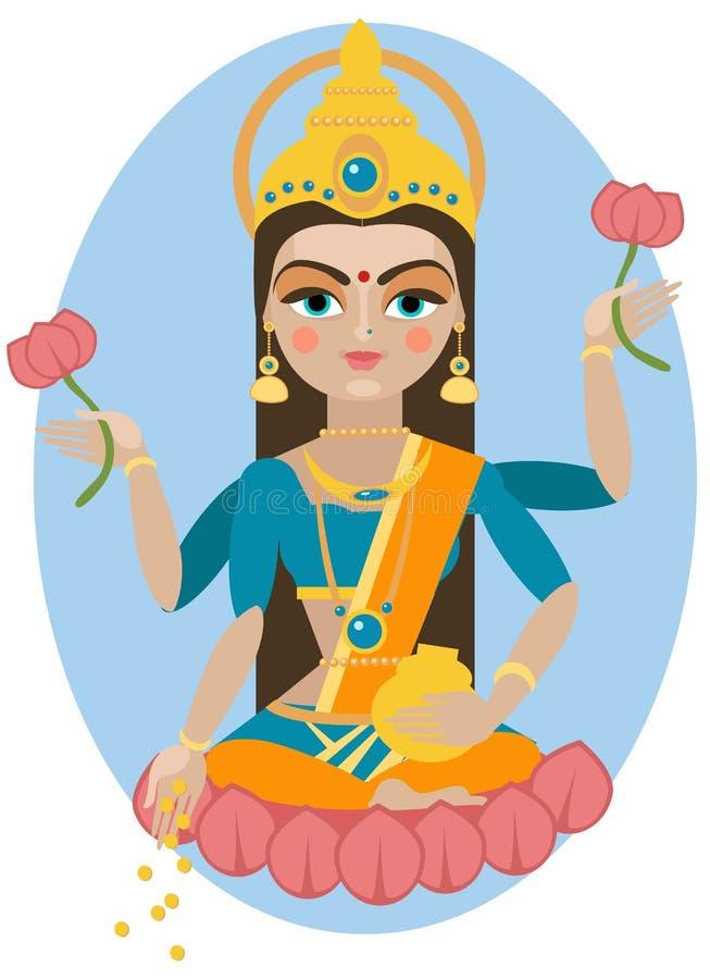 Lakshmi deity illustration. royalty free illustration