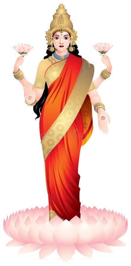Lakshmi, deusa Hindu ilustração royalty free