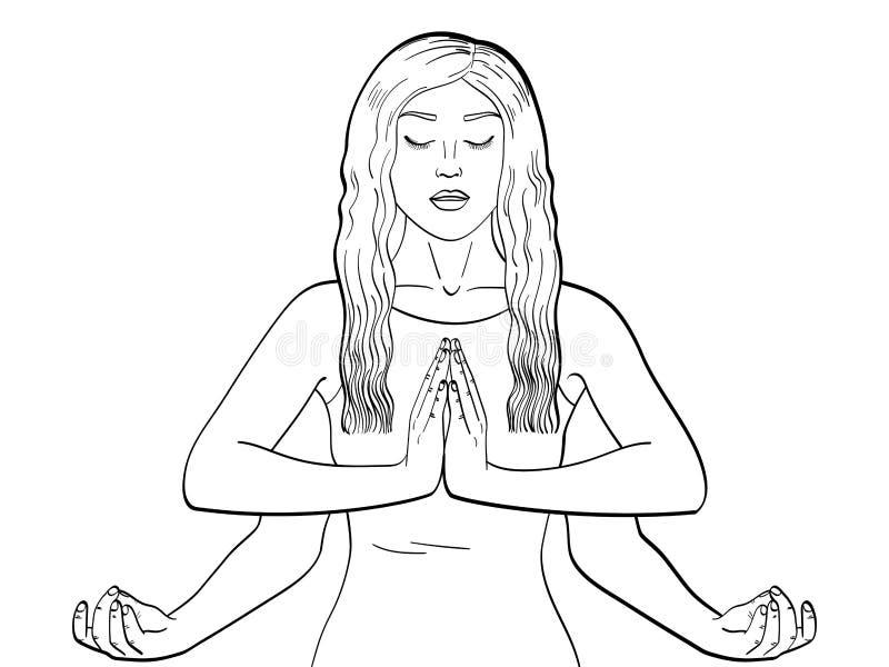Lakshmi en kvinna med fyra händer i Hinduism posera yoga barn som färgar, svartlinjer också vektor för coreldrawillustration vektor illustrationer