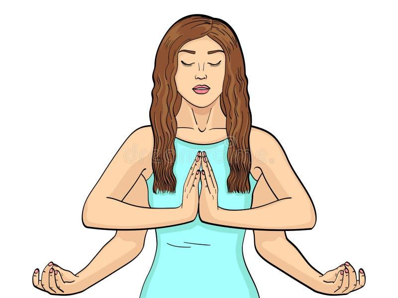 Lakshmi en kvinna med fyra händer i Hinduism posera yoga för objektbana för bakgrund clipping isolerad white också vektor för cor vektor illustrationer