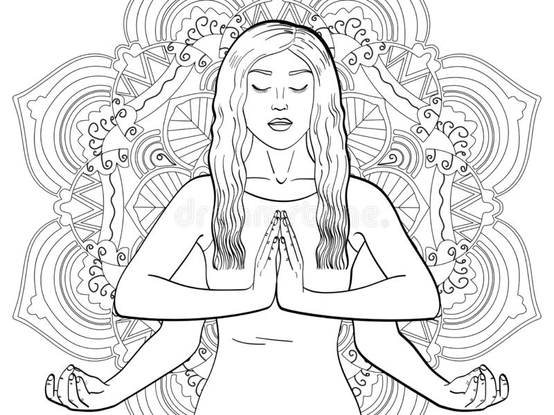 Lakshmi en kvinna med fyra h?nder i Hinduism posera yoga barn som färgar, svarta linjer, ändekonstbakgrund raster royaltyfri illustrationer