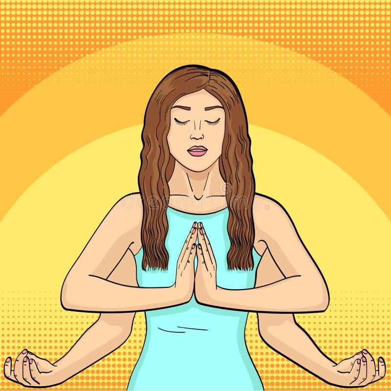 Lakshmi en kvinna med fyra h?nder i Hinduism posera yoga efterf?ljd av komiker utformar, knuffar konstbakgrund raster vektor illustrationer