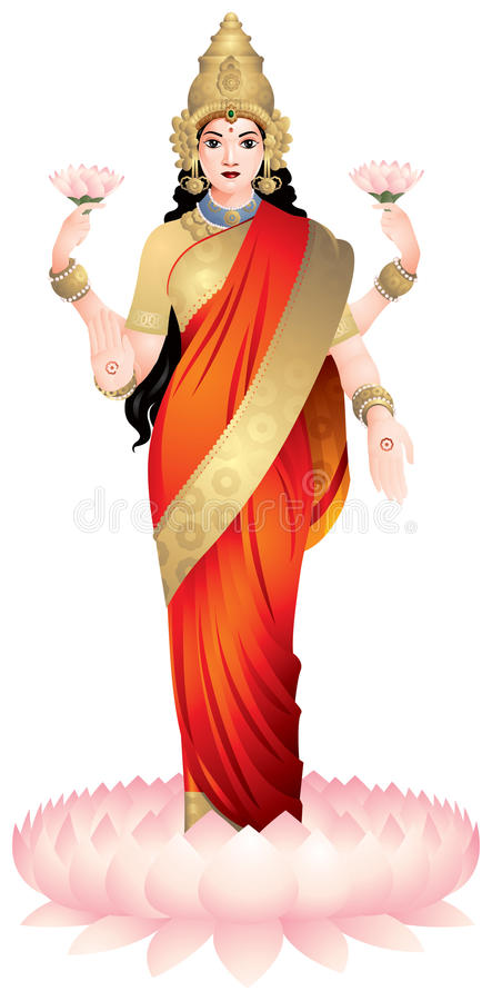 Lakshmi, the Hindu goddess. Of wealth, prosperity, light, wisdom, fortune, fertility, generosity and courage, the embodiment of beauty and charm. India. Padma royalty free illustration