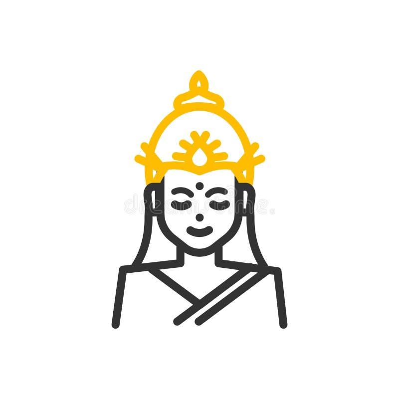 Lakshmi, Hinduska bogini bogactwo, dobrobyt, obfitość i pomyślność, Wektor ikony cienka kreskowa ilustracja royalty ilustracja