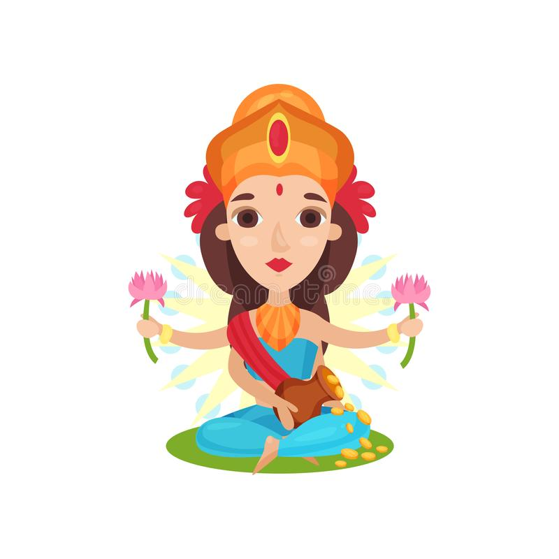 Lakshmi Indian goddess of wealth, grace and charm cartoon vector Illustration on a white background. Lakshmi Indian goddess of wealth, grace and charm cartoon stock illustration