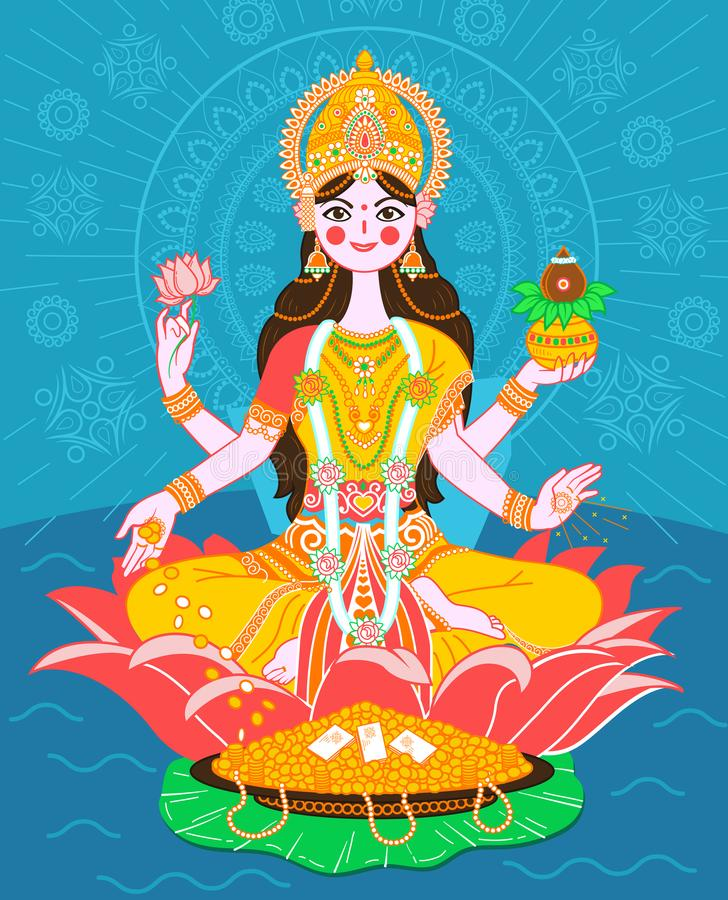 Lakshmi on a lotus in a flat style royalty free illustration