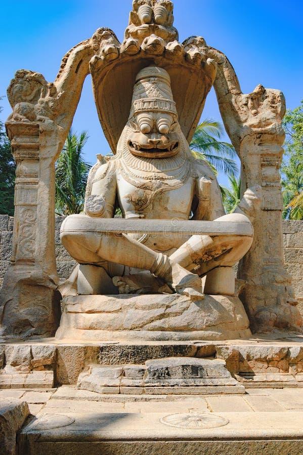 Lakshmi Narasimha statue in Hampi, India stock photos