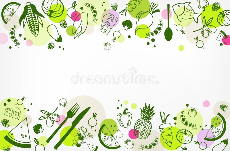Laktos-fria, gluten-fria & låga FODMAP bantar design: färgrik & välbalanserad matillustration vektor illustrationer
