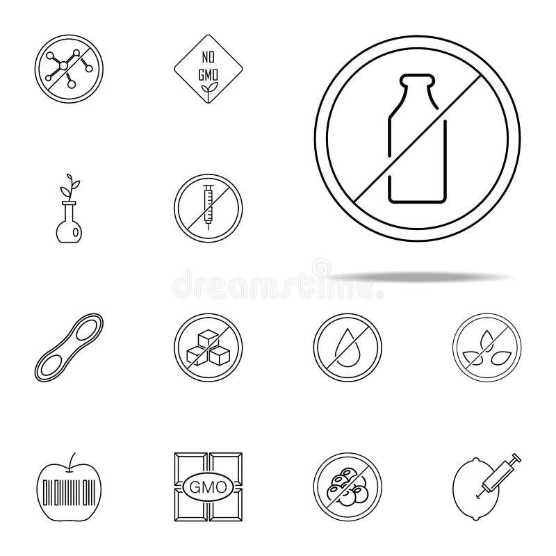 Laktosefreie Ikone GMO-Ikonenuniversalsatz für Netz und Mobile vektor abbildung
