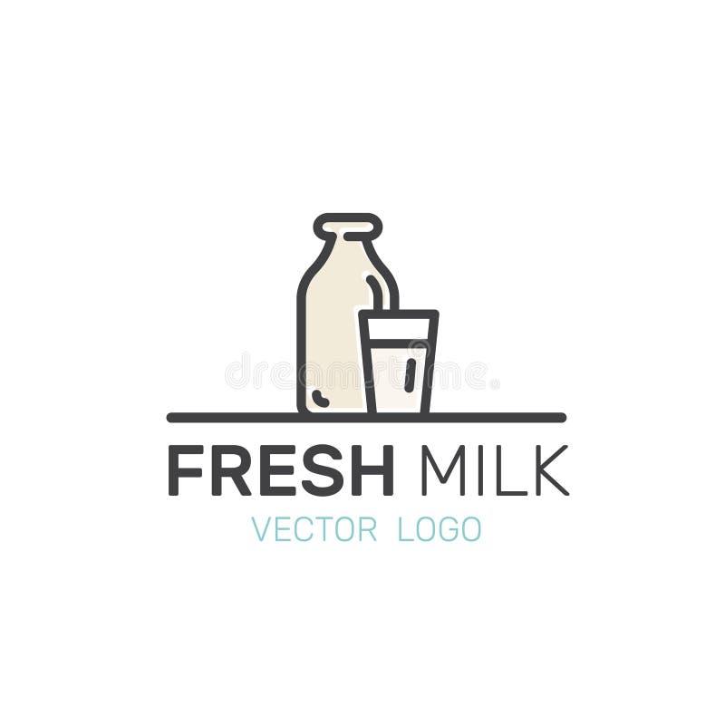 Laktoza, dzienniczek, Dojni produkty Rolni i Organicznie symbole Życiorys rynek, sklep od wsi, Odosobniony Nowożytny logo ilustracja wektor