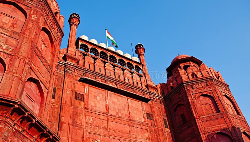 Lal Qila - rött fort i Delhi, Indien arkivbilder