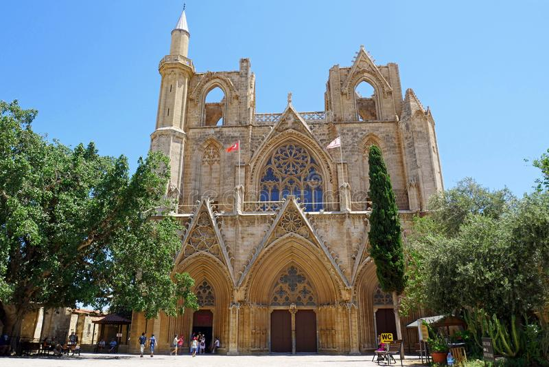 Lala穆斯塔法前巴夏清真寺圣尼古拉斯大教堂,法马古斯塔,塞浦路斯 库存图片
