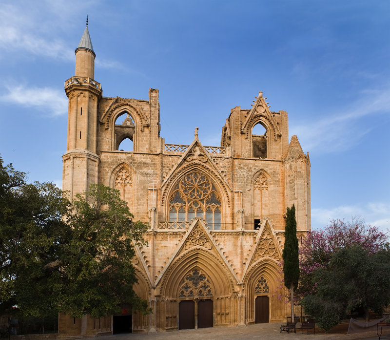 Lala Mustafa Pasha Mosque. (formerly St. Nicolas Cathedral) in Cyprus built between 1298-1400 stock photo