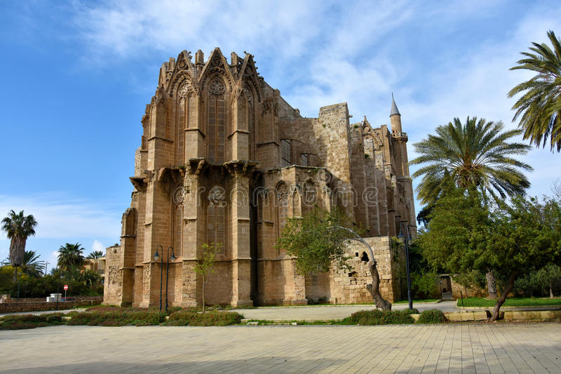 Lala Mustafa Pasha Mosque. Or Saint Nicolas Cathedral in Famagusta, in the Nortern part of hCyprus stock photography