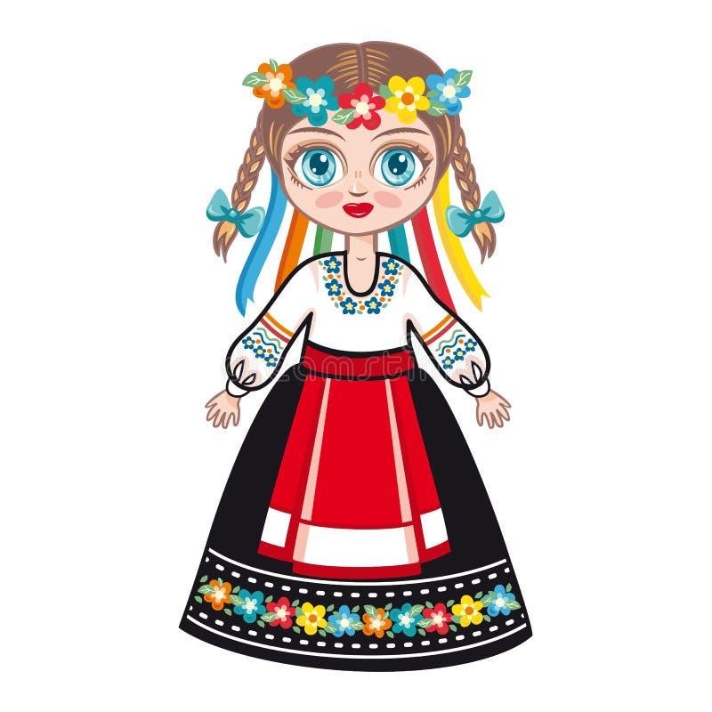 Lala w krajowym Ukraińskim kostiumu odziewa dziejowego Ukraina ilustracji