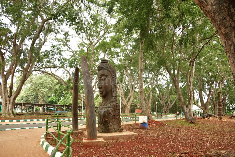 Lalbagh Botanical Gardens tree carvings, Bangalore. Karnataka, India royalty free stock images