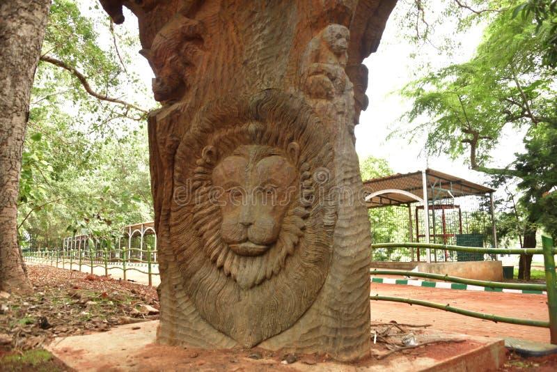 Lalbagh Botanical Gardens tree carvings, Bangalore. Karnataka, India royalty free stock image
