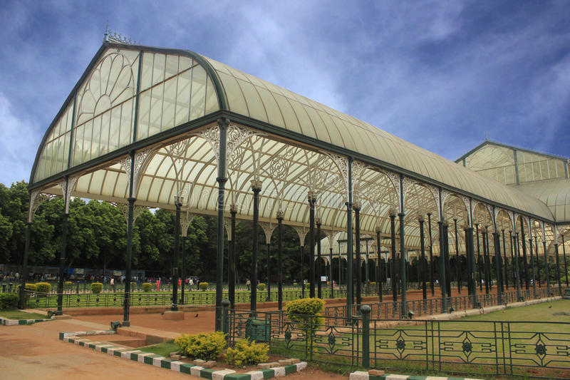 Lalbagh glass house at bengaluru, india. Side view of lalbagh glass house at bengaluru, india royalty free stock photo