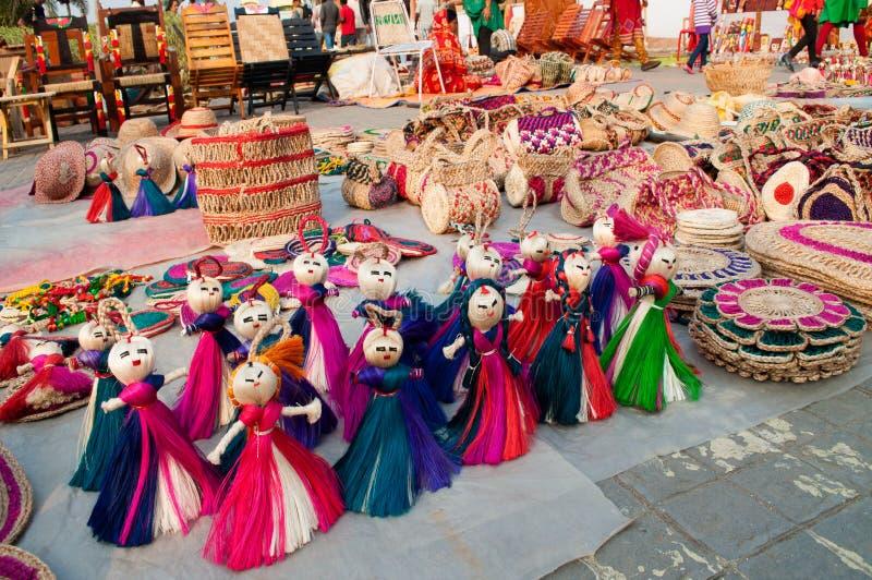Lale, sztuki praca, Indiańscy rękodzieła uczciwi przy Kolkata fotografia stock