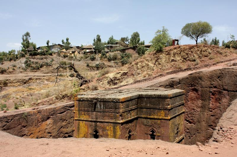 Lalibela. St. georgys church of lalibela, ethiopia. Lalibela is a town in northern Ethiopia, known for its monolithic churches. Lalibela is one of Ethiopia's royalty free stock images