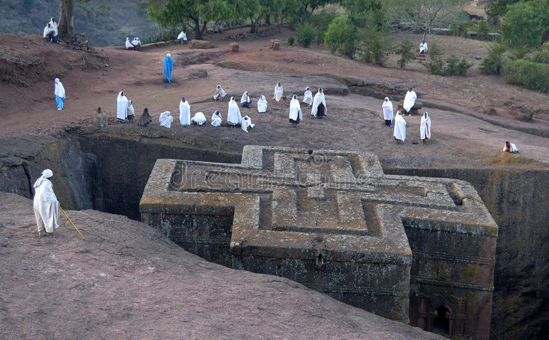 Lalibela Church. The rock-hewn church of Betis Giorgis in Lalibela, Northern Ethiopia stock photography