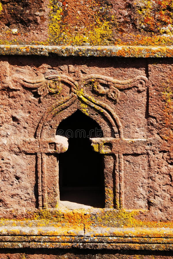 Lalibela detail. Window in Lalibela church, Ethiopia royalty free stock photography