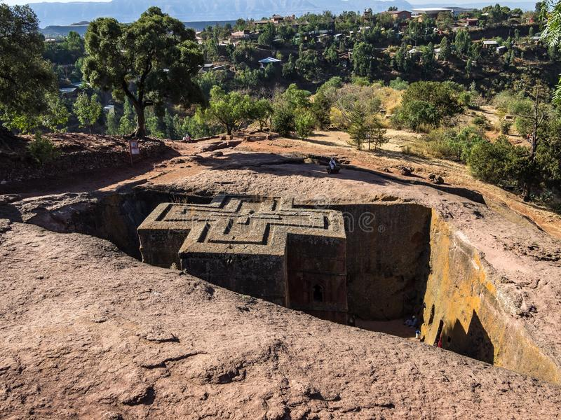 Lalibela, Ethiopia. Famous Rock-Hewn Church of Saint George - Bete Giyorgis. Famous Rock-Hewn Church of Saint George - Bete Giyorgis in Lalibela, Ethiopia stock photography