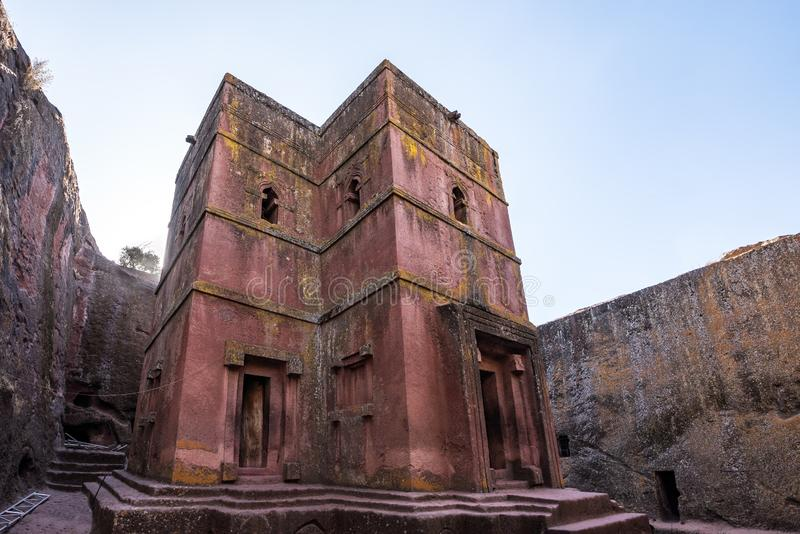 Lalibela, Ethiopia. Famous Rock-Hewn Church of Saint George - Bete Giyorgis. Famous Rock-Hewn Church of Saint George - Bete Giyorgis in Lalibela, Ethiopia royalty free stock photography