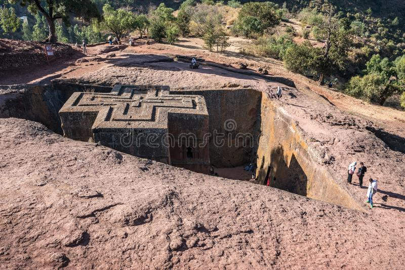 Lalibela, Ethiopia. Famous Rock-Hewn Church of Saint George - Bete Giyorgis. Famous Rock-Hewn Church of Saint George - Bete Giyorgis in Lalibela, Ethiopia royalty free stock photos