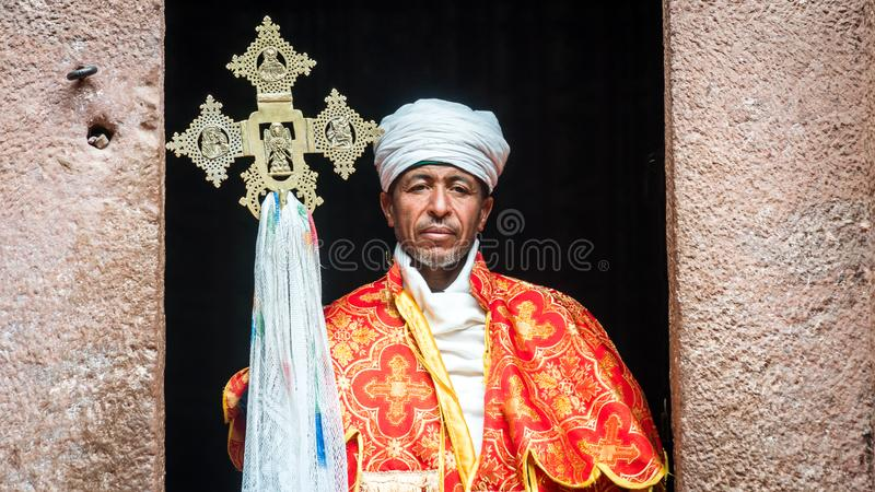 Unidentified priest at one of the old rock churches from Lalibela royalty free stock photos
