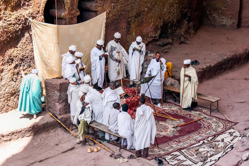 Lalibela. Ethiopian orthodox priest in lalibela before service royalty free stock photos