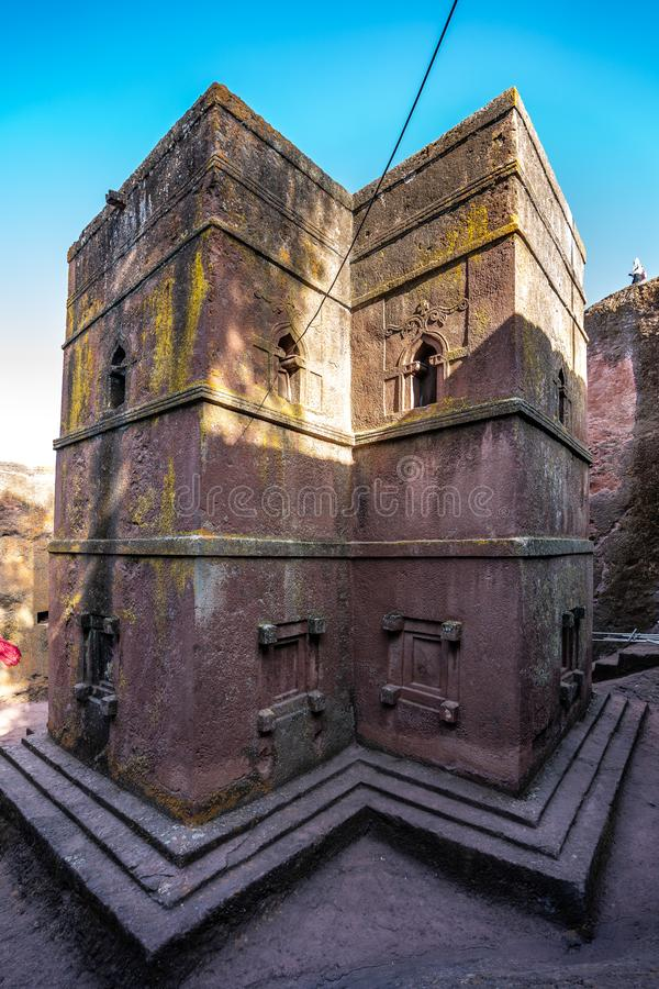 Lalibela, Etiopia S?awny ciosaj?cy ko?ci?? ?wi?tobliwy George, Bete - Giyorgis zdjęcie royalty free