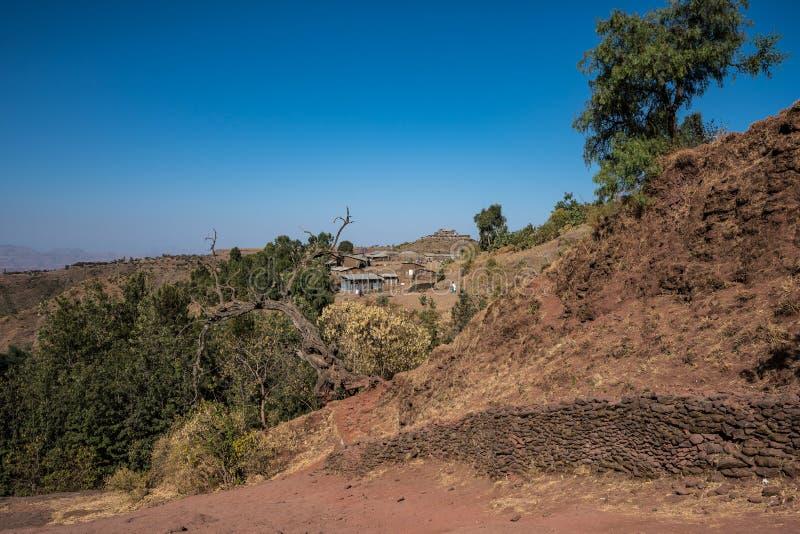 Lalibela, Etiopia S?awny ciosaj?cy ko?ci?? ?wi?tobliwy George, Bete - Giyorgis zdjęcia royalty free