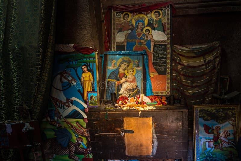 Lalibela Etiopien Berömd Vagga-huggen ut kyrka av St George - Bete Giyorgis royaltyfria bilder