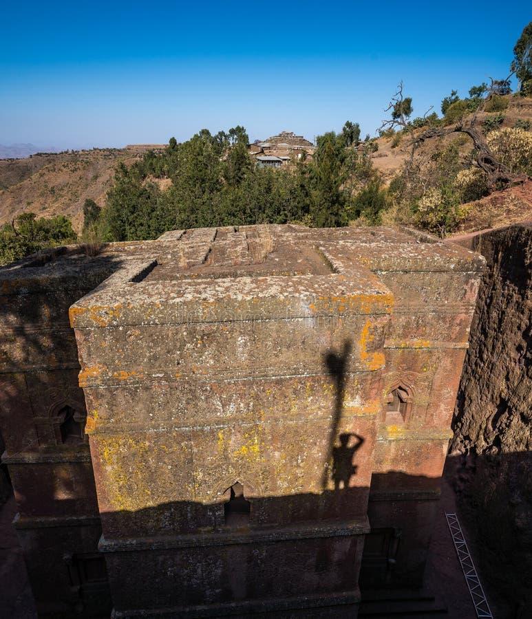 Lalibela Etiopien Berömd Vagga-huggen ut kyrka av St George - Bete Giyorgis arkivbild