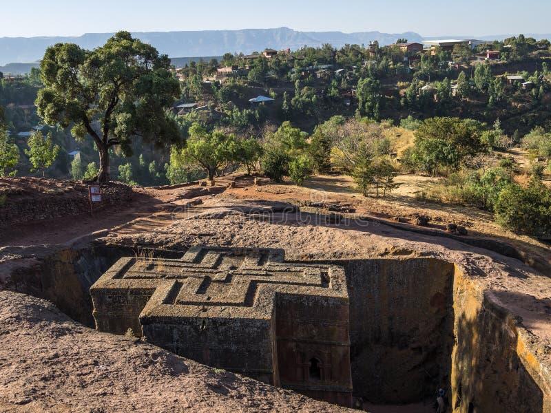 Lalibela Etiopien Ber?md Vagga-huggen ut kyrka av St George - Bete Giyorgis royaltyfria foton