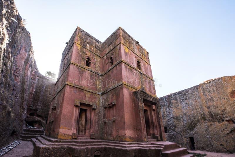 Lalibela Etiopien Ber?md Vagga-huggen ut kyrka av St George - Bete Giyorgis arkivfoton