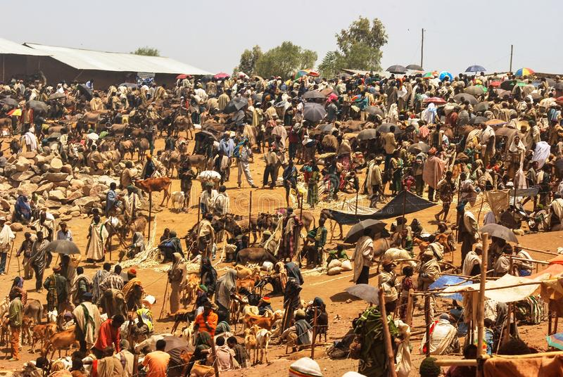 Lalibela Etiopien, 13th Juni 2009: Marknadsplats, oidentifierat p royaltyfria foton