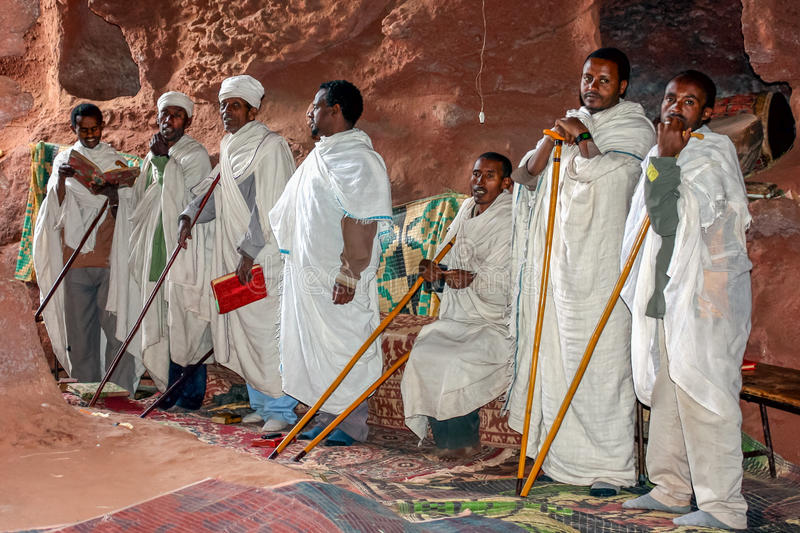 Lalibela. People singing in front of the church, Lalibela, Ethiopia stock photos