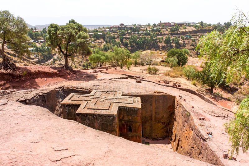 Lalibela. St. georgys church of lalibela, ethiopia. Lalibela is a town in northern Ethiopia, known for its monolithic churches. Lalibela is one of Ethiopia's royalty free stock photo