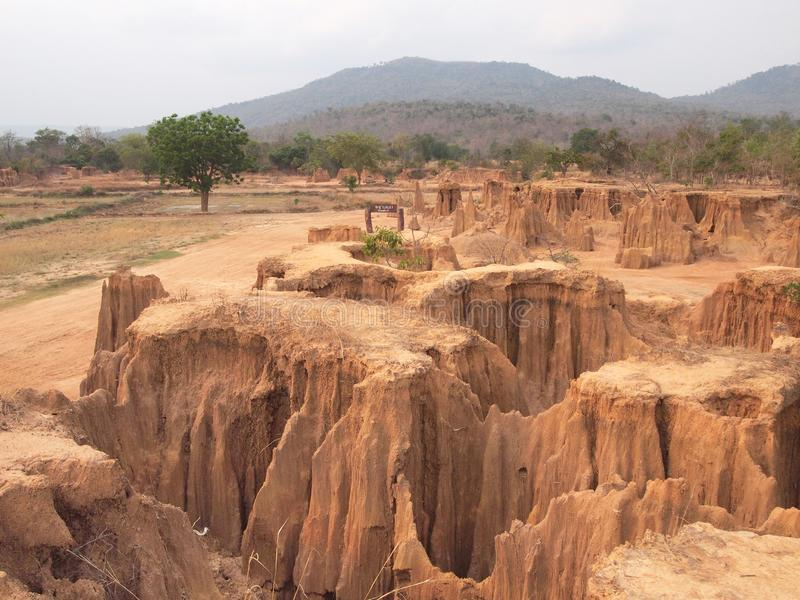 Lalu Park in Sakaeo province, Thailand, due to soil erosion has produced stranges shapes. Background royalty free stock photography