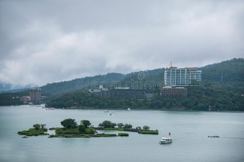 Lalu Sun Moon Lake in Nantou County Yacht Island Ferry Terminal royalty free stock image